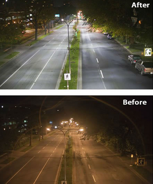 before and after retrofit LED