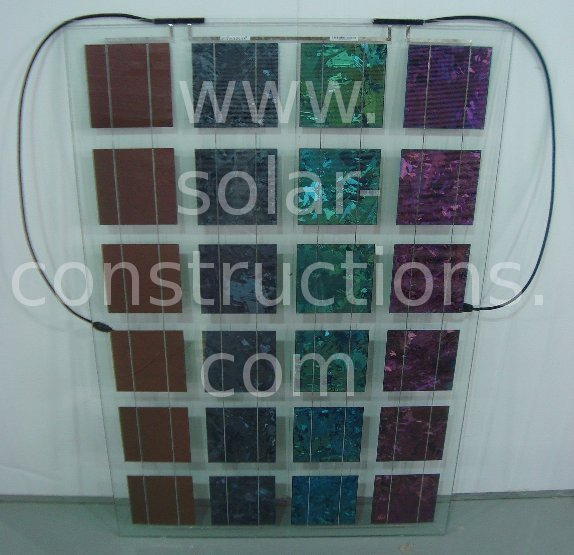 coloured solar cells, Photovoltaic facade with semi translucent color modules
