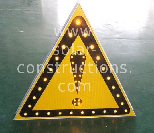 triangular traffic sign with leds