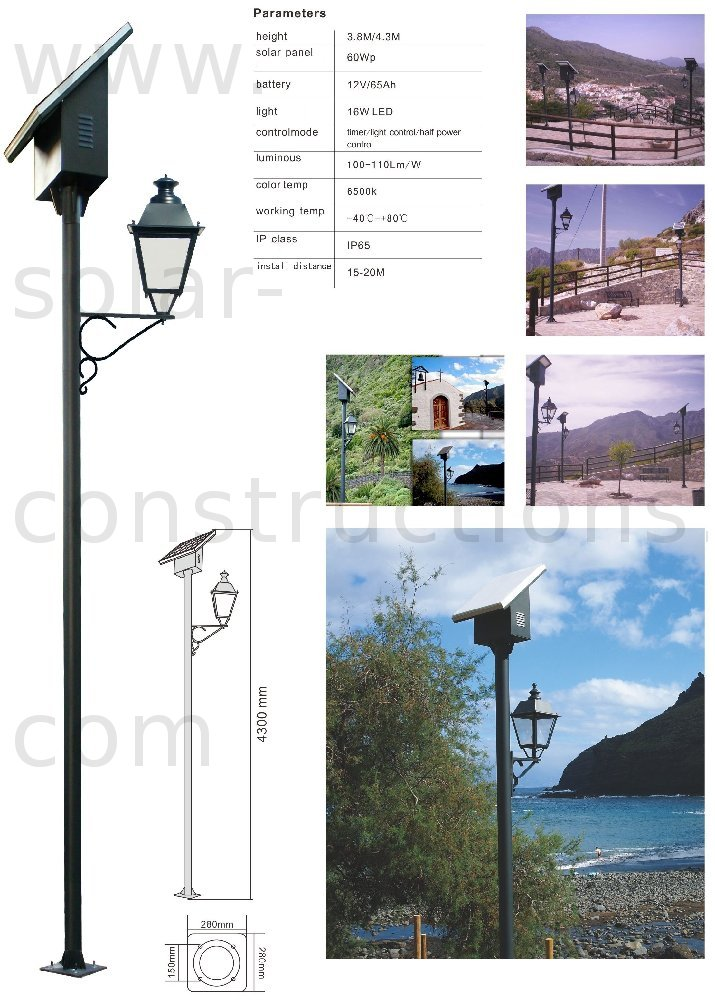 Solar led park light autonomous lighting for Eclairage exterieur professionnel