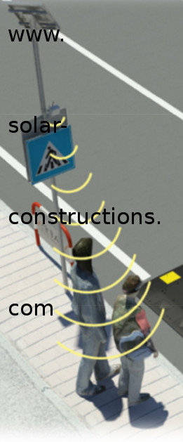 crosswalk safety with flashing leds and movement sensor warning