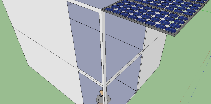 modular solar house with tranparent solar panels for shade