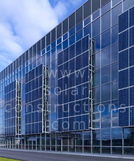solar panels mounted on facade